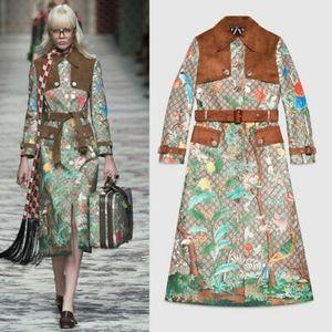 NWT Gucci Supreme Tian Print Trench Coat